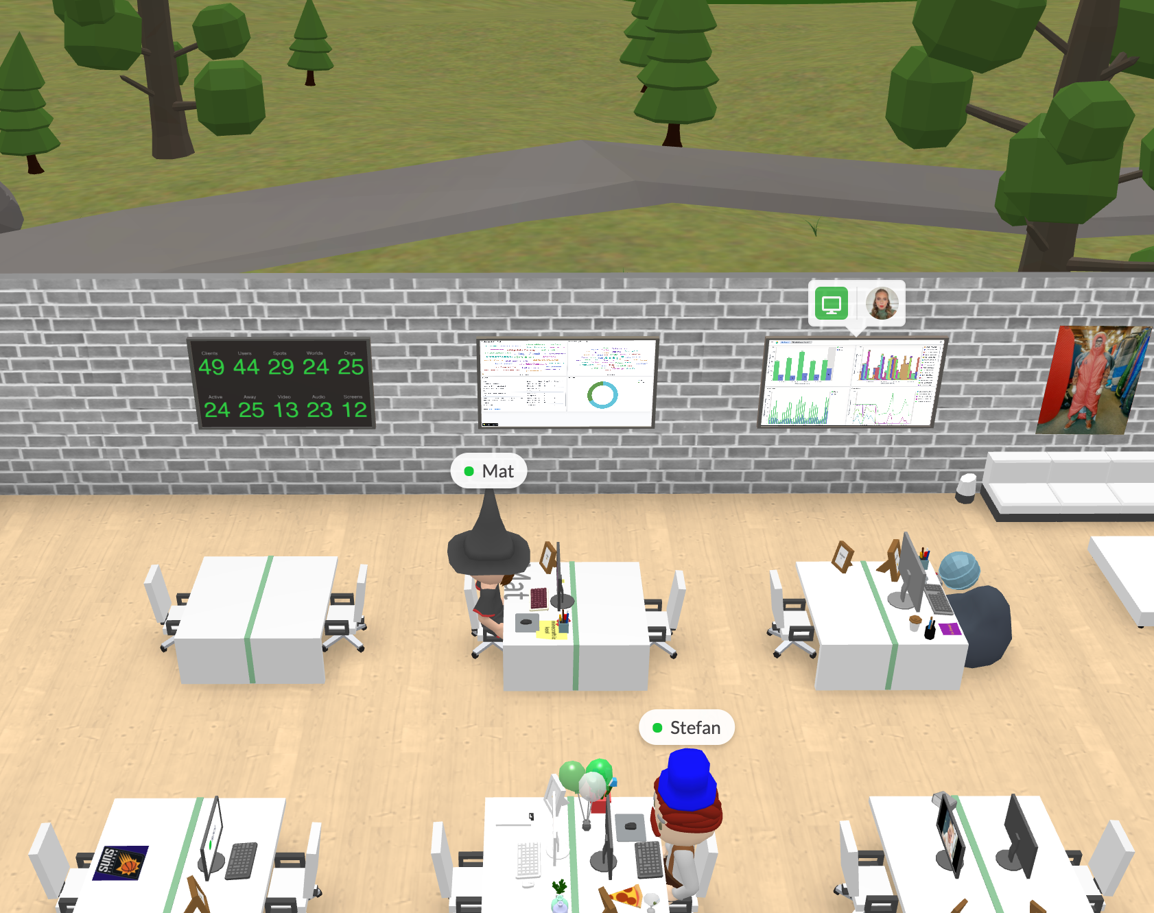People sitting at desks with metrics on screens.