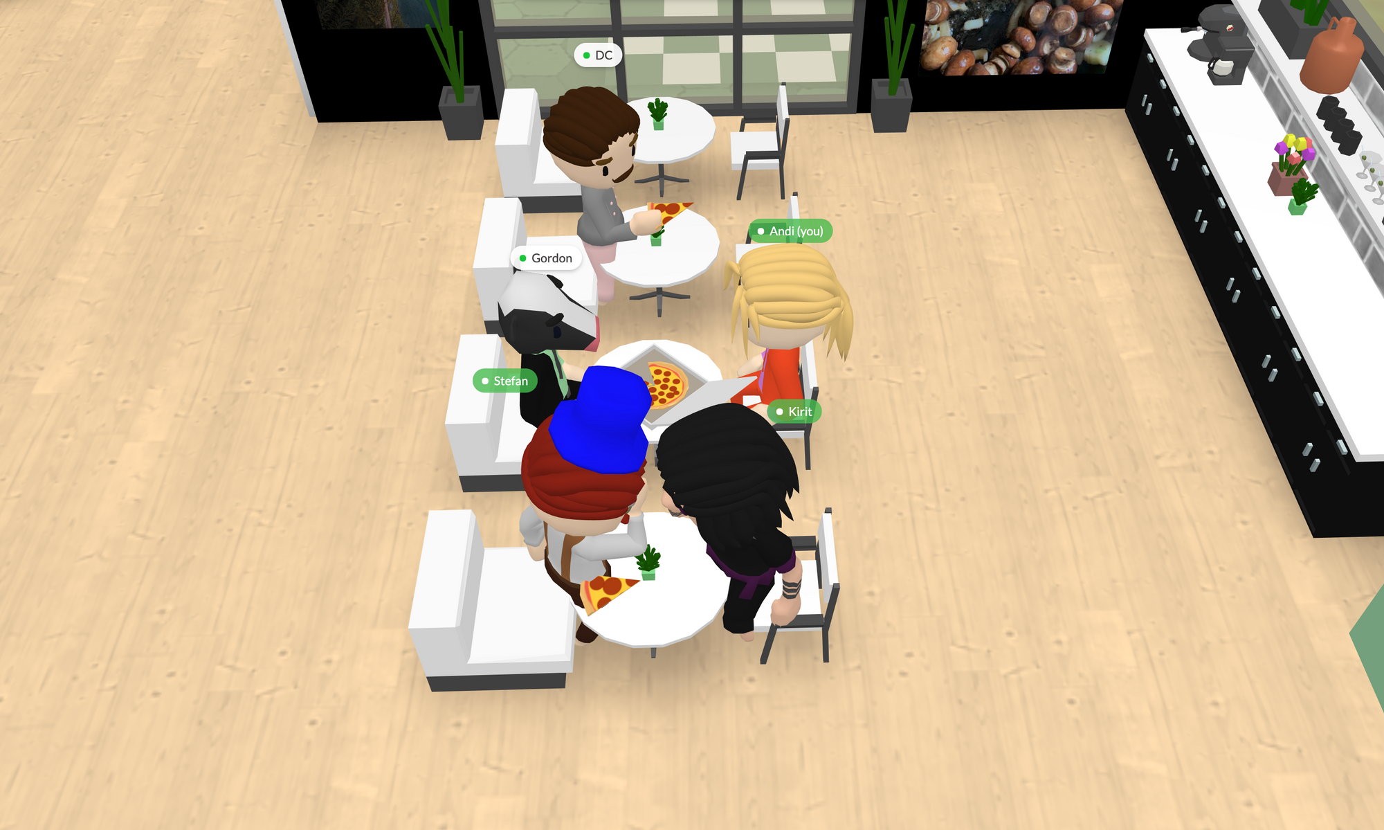 A group of people eating pizza on National Pizza Day